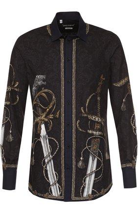 Хлопковая рубашка с принтом Dolce & Gabbana синяя   Фото №1