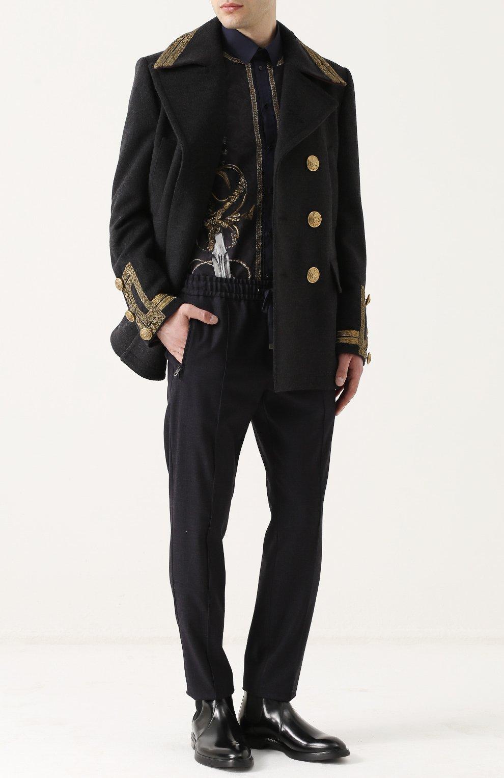 Хлопковая рубашка с принтом Dolce & Gabbana синяя   Фото №2