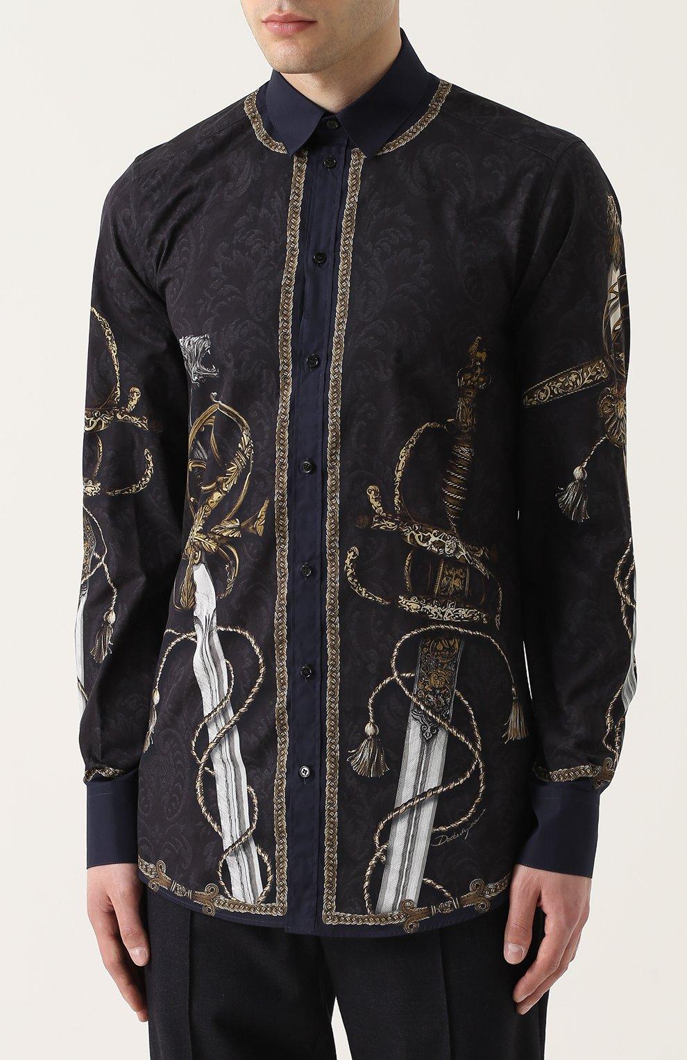 Хлопковая рубашка с принтом Dolce & Gabbana синяя   Фото №3