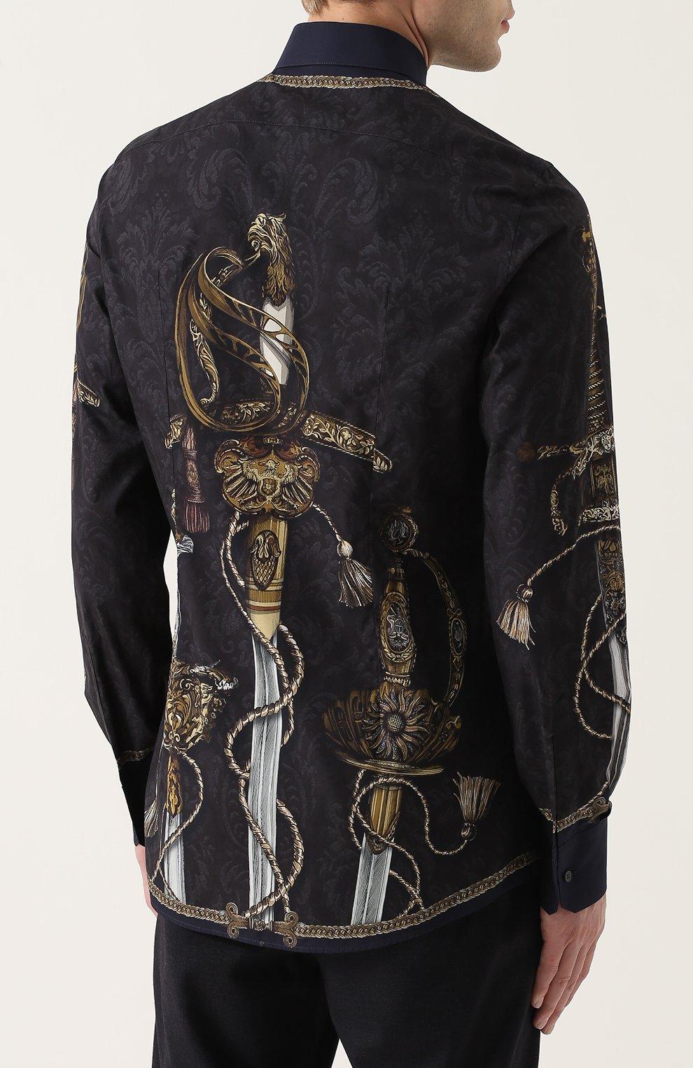 Хлопковая рубашка с принтом Dolce & Gabbana синяя   Фото №4
