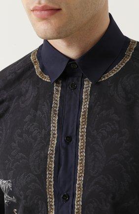 Хлопковая рубашка с принтом Dolce & Gabbana синяя   Фото №5