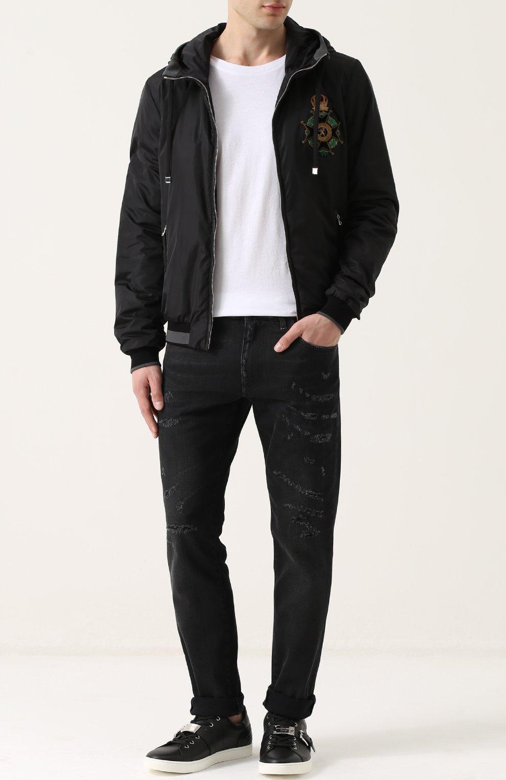 Бомбер на молнии с капюшоном Dolce & Gabbana черная | Фото №2