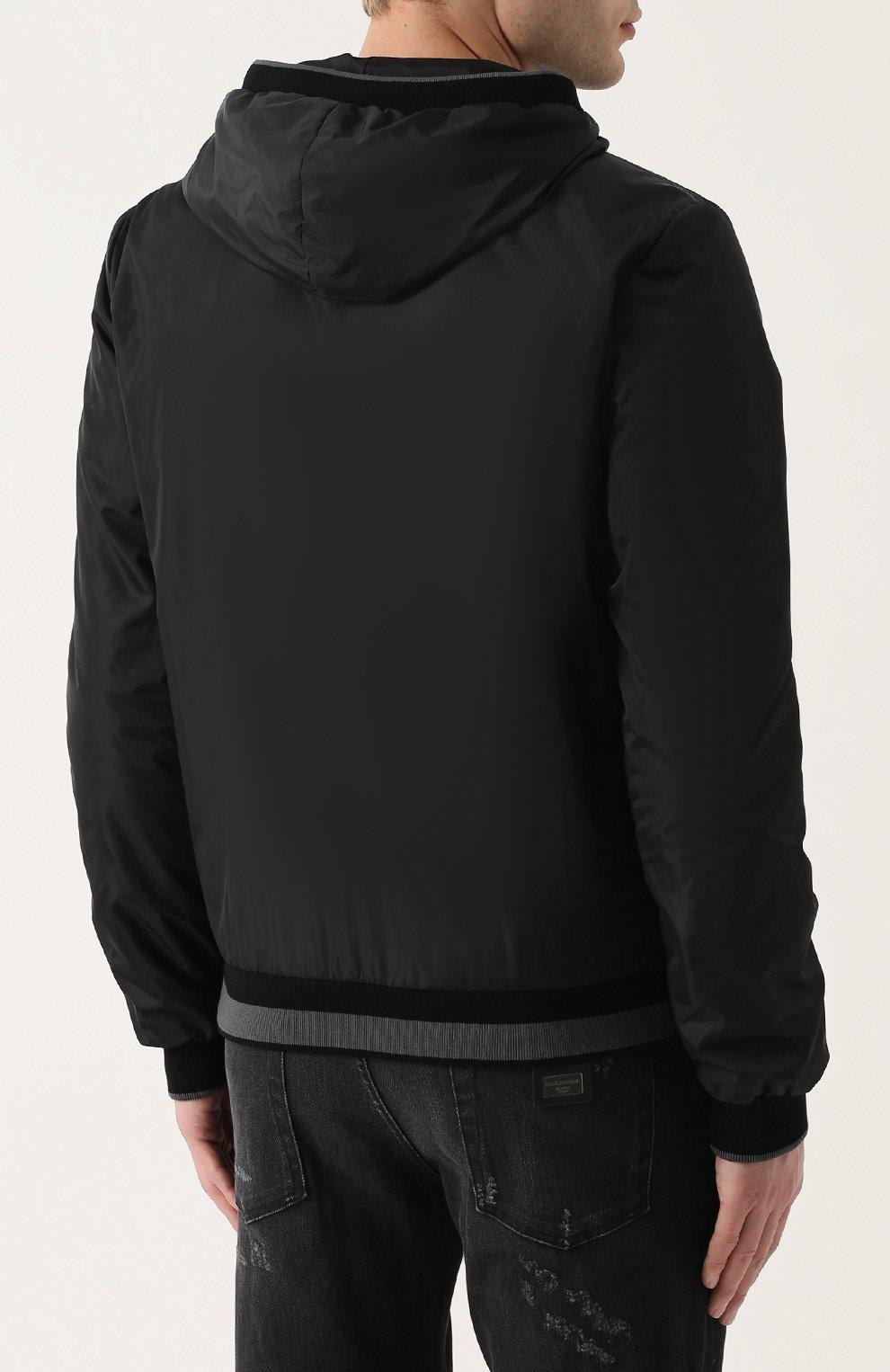 Бомбер на молнии с капюшоном Dolce & Gabbana черная | Фото №4