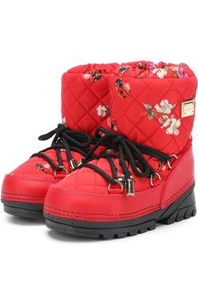 Детские сапоги-луноходы с принтом на шнуровке Dolce & Gabbana красного цвета   Фото №1