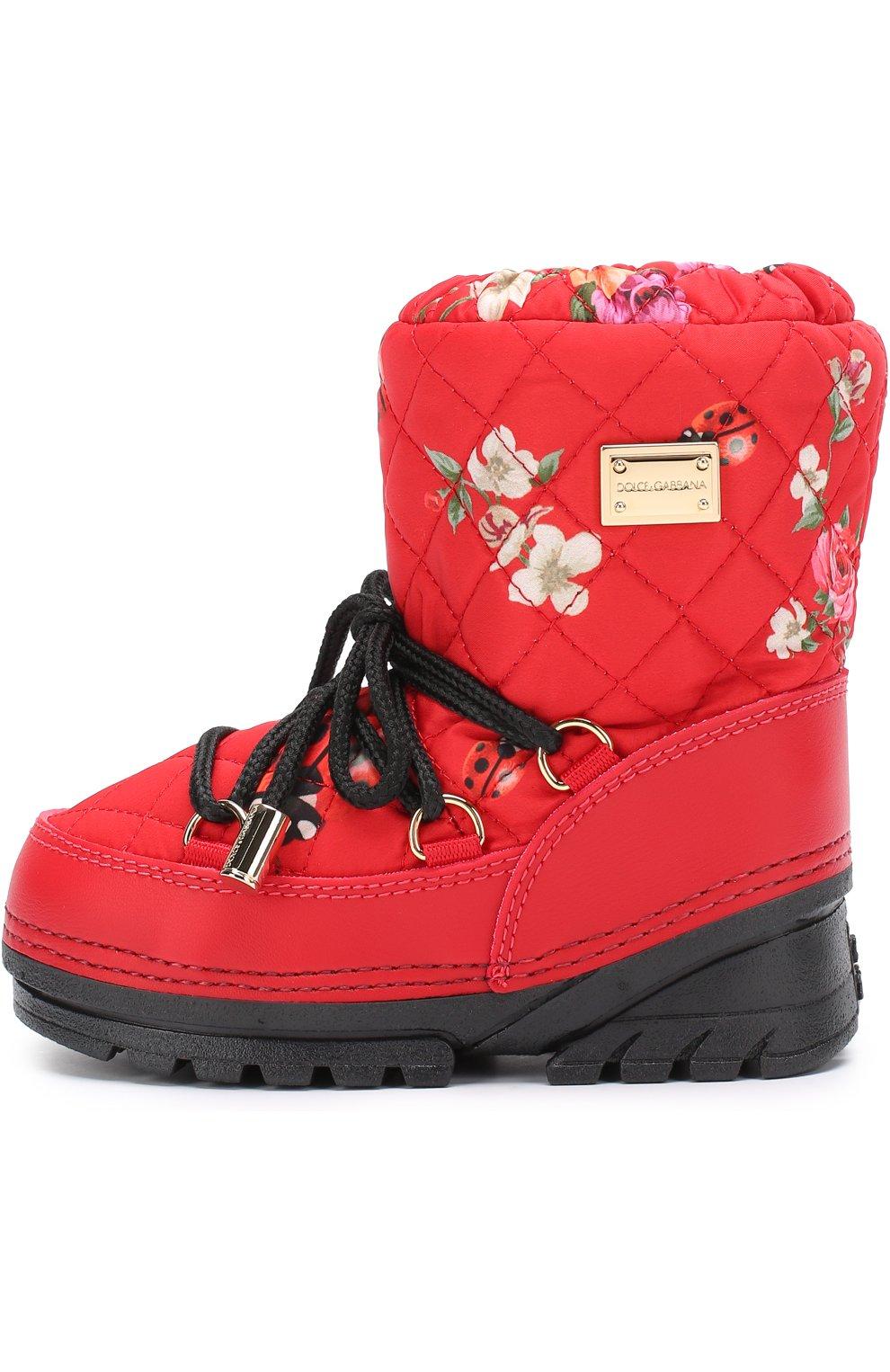 Детские сапоги-луноходы с принтом на шнуровке Dolce & Gabbana красного цвета   Фото №2