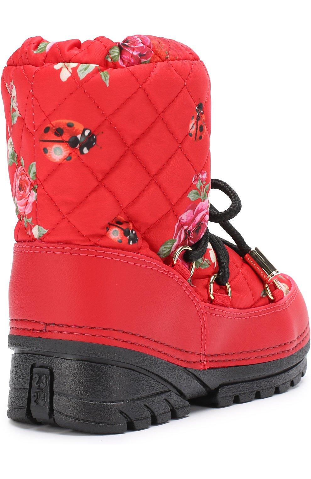 Детские сапоги-луноходы с принтом на шнуровке Dolce & Gabbana красного цвета   Фото №3