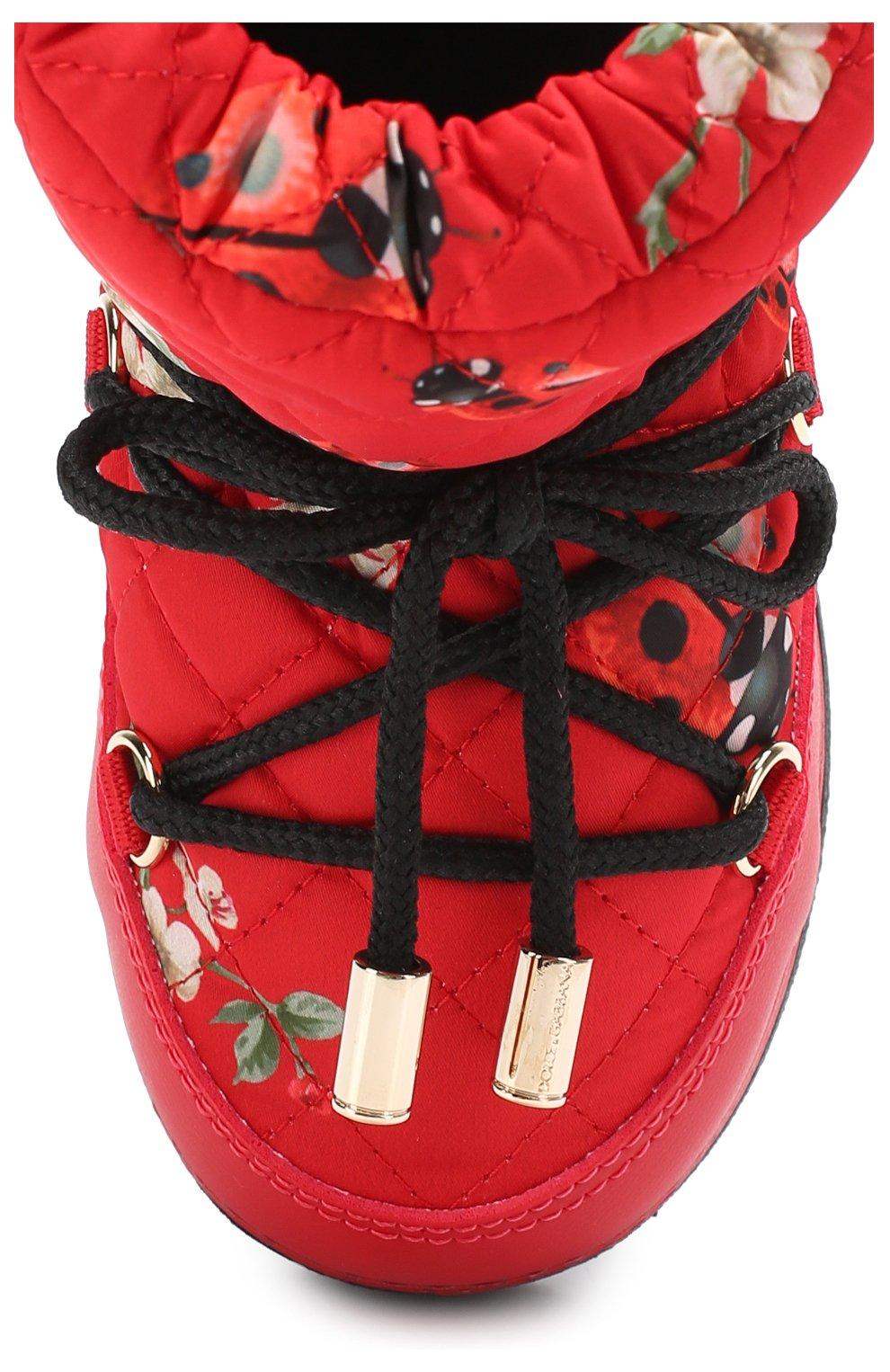 Детские сапоги-луноходы с принтом на шнуровке Dolce & Gabbana красного цвета   Фото №4