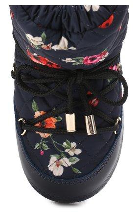 Детские сапоги-луноходы с принтом на шнуровке Dolce & Gabbana темно-синего цвета | Фото №4