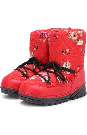 Детские сапоги-луноходы с принтом на шнуровке Dolce & Gabbana красного цвета | Фото №1