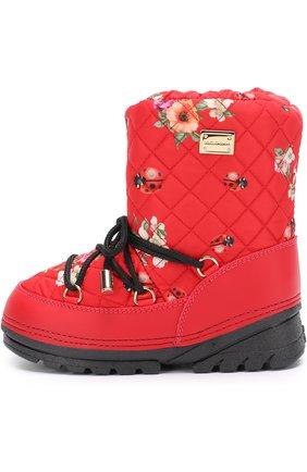 Детские сапоги-луноходы с принтом на шнуровке Dolce & Gabbana красного цвета | Фото №2