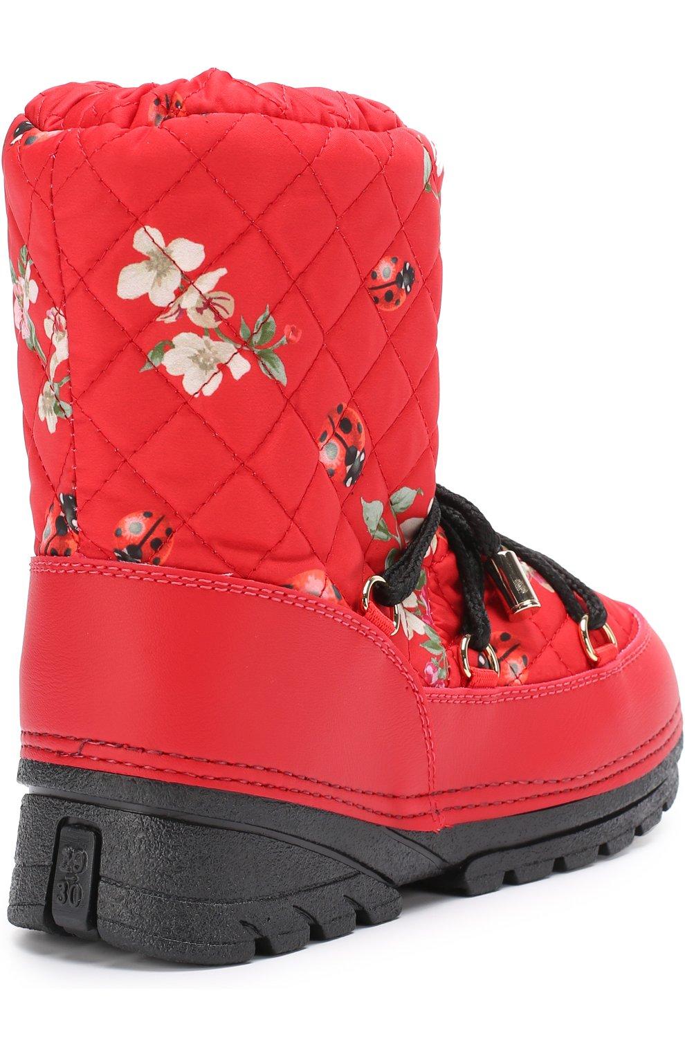 Детские сапоги-луноходы с принтом на шнуровке Dolce & Gabbana красного цвета | Фото №3