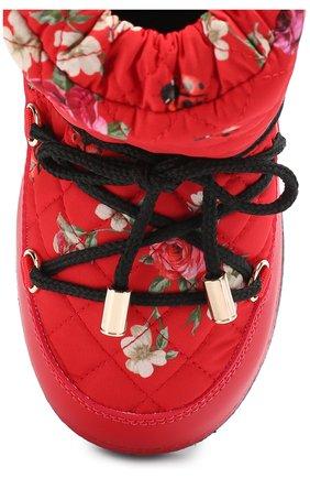 Детские сапоги-луноходы с принтом на шнуровке Dolce & Gabbana красного цвета | Фото №4