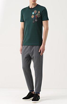 Хлопковые джоггеры с вышивкой Dolce & Gabbana светло-серые   Фото №2