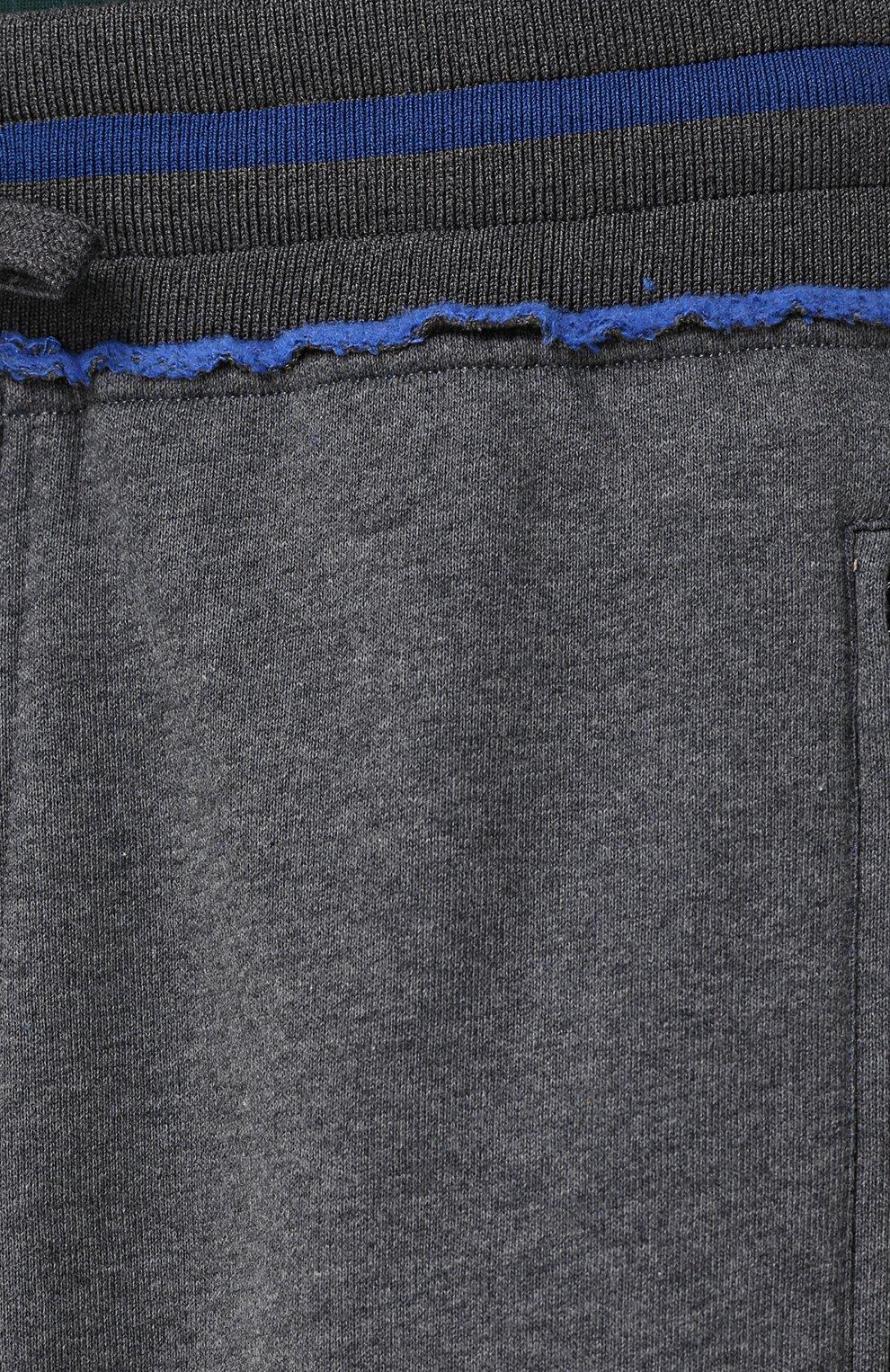 Хлопковые джоггеры с вышивкой Dolce & Gabbana светло-серые   Фото №5