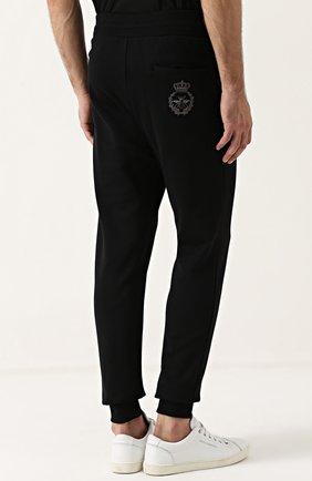 Хлопковые джоггеры с вышивкой Dolce & Gabbana черные | Фото №4