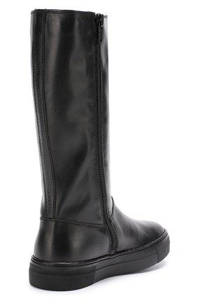 Детские кожаные сапоги с логотипом бренда Dolce & Gabbana черного цвета   Фото №3