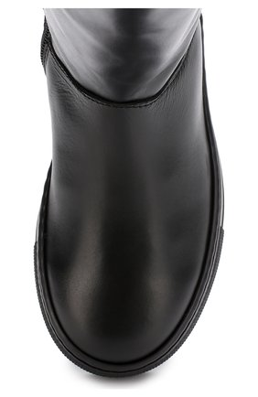 Детские кожаные сапоги с логотипом бренда Dolce & Gabbana черного цвета   Фото №4
