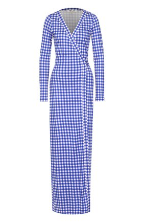 Шелковое платье с запахом и принтом Diane Von Furstenberg синее   Фото №1