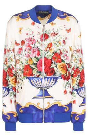 Бомбер на молнии с принтом Dolce & Gabbana разноцветная | Фото №1