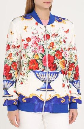 Бомбер на молнии с принтом Dolce & Gabbana разноцветная | Фото №3