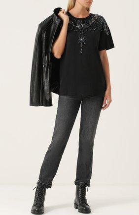 Хлопковая футболка с вышивкой пайетками Marcelo Burlon черная   Фото №1
