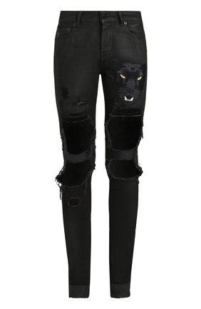 Джинсы прямого кроя с потертостями и вышивкой Marcelo Burlon черные   Фото №1