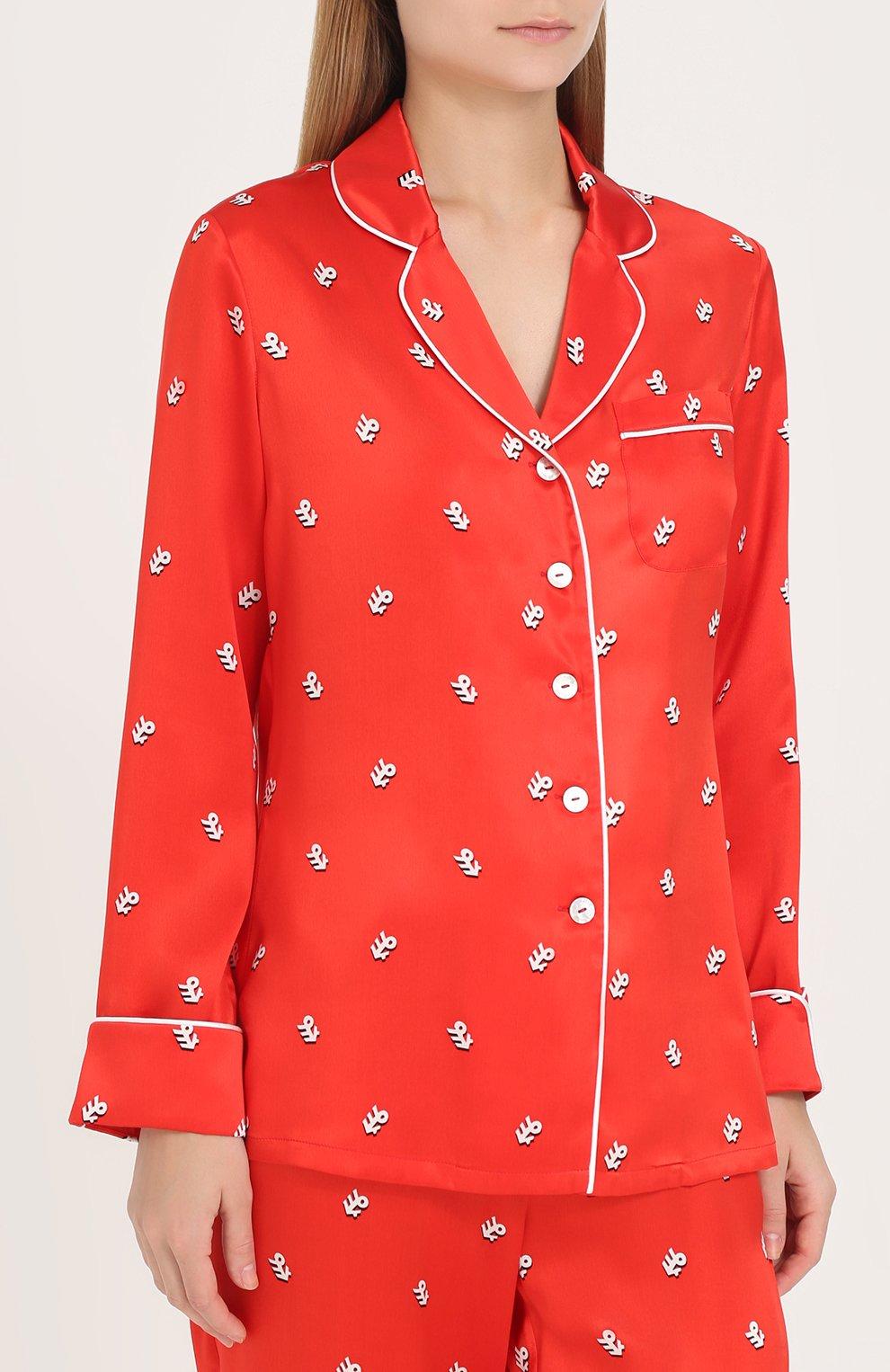 Шелковая пижама с принтом Olivia Von Halle красная | Фото №2