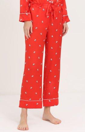 Шелковая пижама с принтом Olivia Von Halle красная | Фото №4