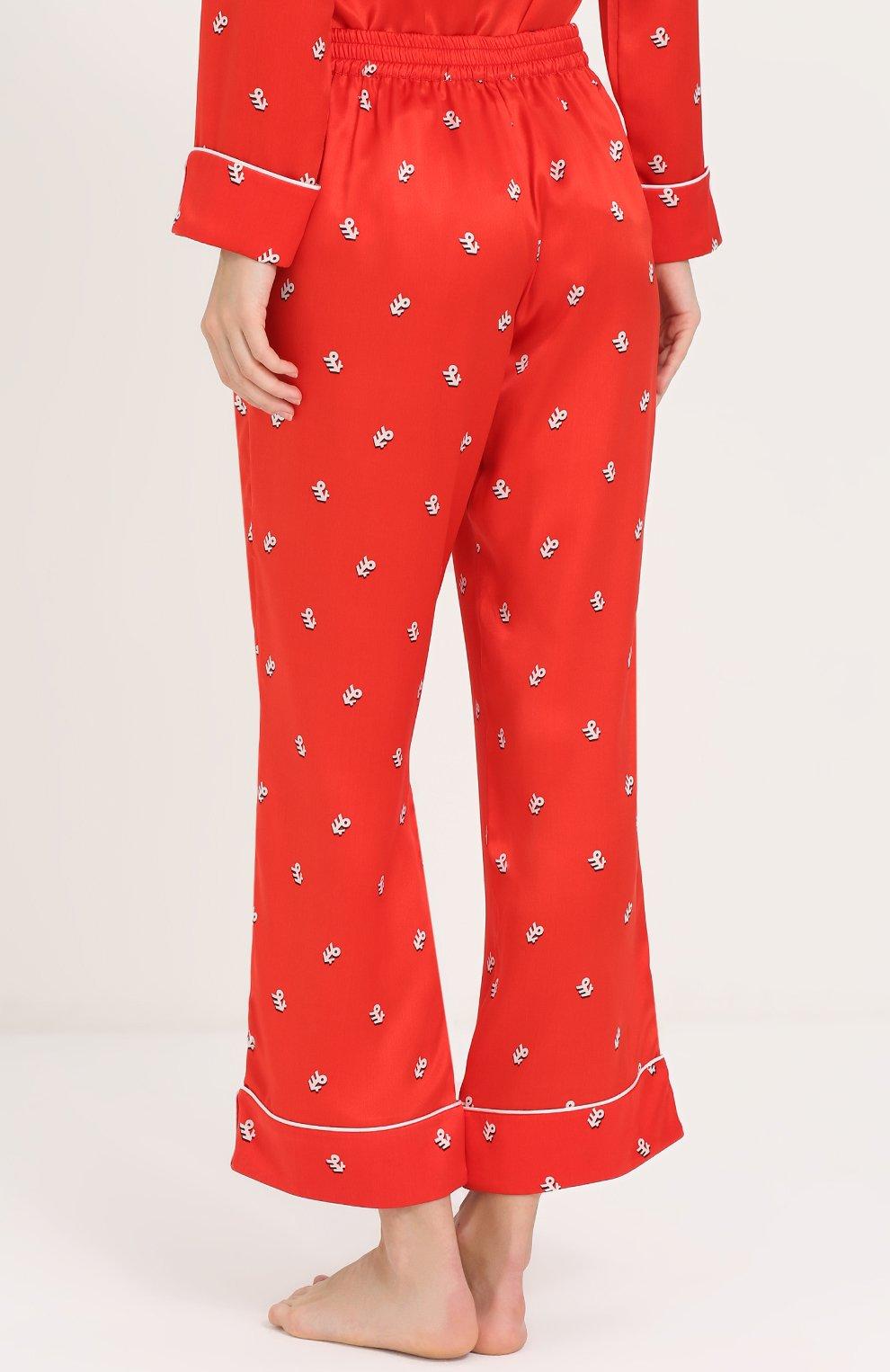 Шелковая пижама с принтом Olivia Von Halle красная | Фото №5