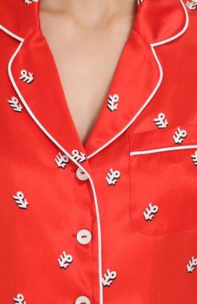 Шелковая пижама с принтом Olivia Von Halle красная | Фото №6