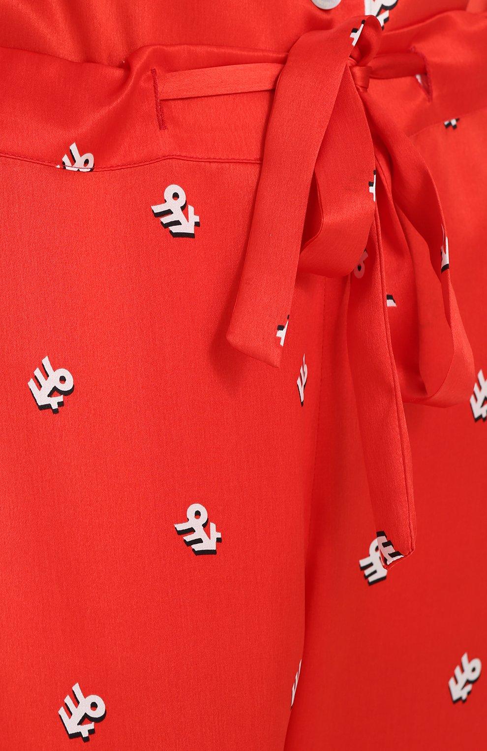 Шелковая пижама с принтом Olivia Von Halle красная | Фото №7