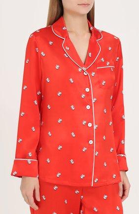 Шелковая пижама с принтом Olivia Von Halle красная | Фото №1