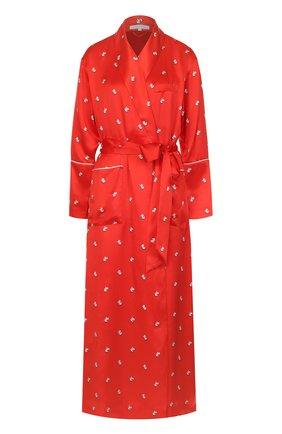 Шелковый халат с поясом Olivia Von Halle красный | Фото №1
