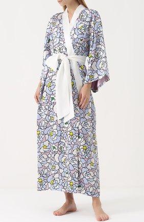 Шелковый халат с поясом Olivia Von Halle разноцветный | Фото №1