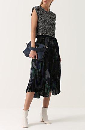 Плиссированная юбка с принтом Sacai темно-синяя | Фото №1