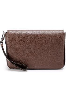Кожаная борсетка с клапаном и внешним карманом на молнии Bally коричневая   Фото №1