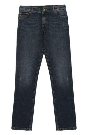 Детские джинсы прямого кроя с вышивкой Dolce & Gabbana темно-синего цвета | Фото №1