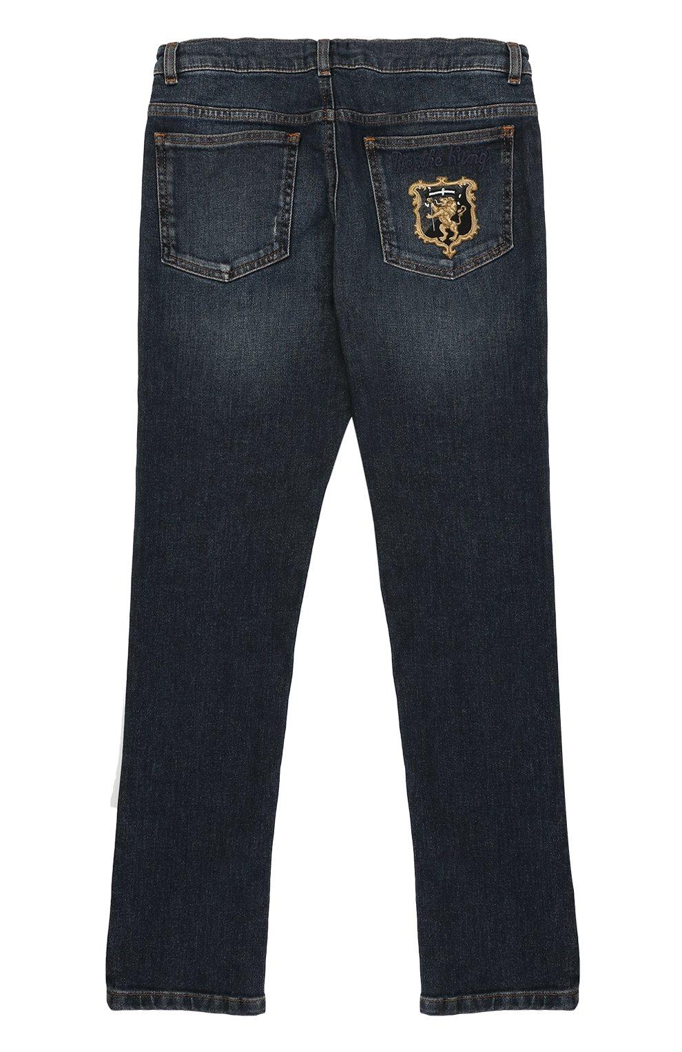 Детские джинсы прямого кроя с вышивкой Dolce & Gabbana темно-синего цвета | Фото №2