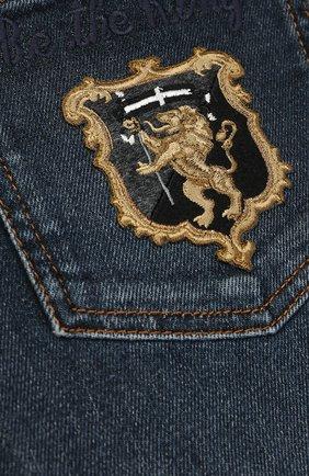 Детские джинсы прямого кроя с вышивкой Dolce & Gabbana темно-синего цвета | Фото №3