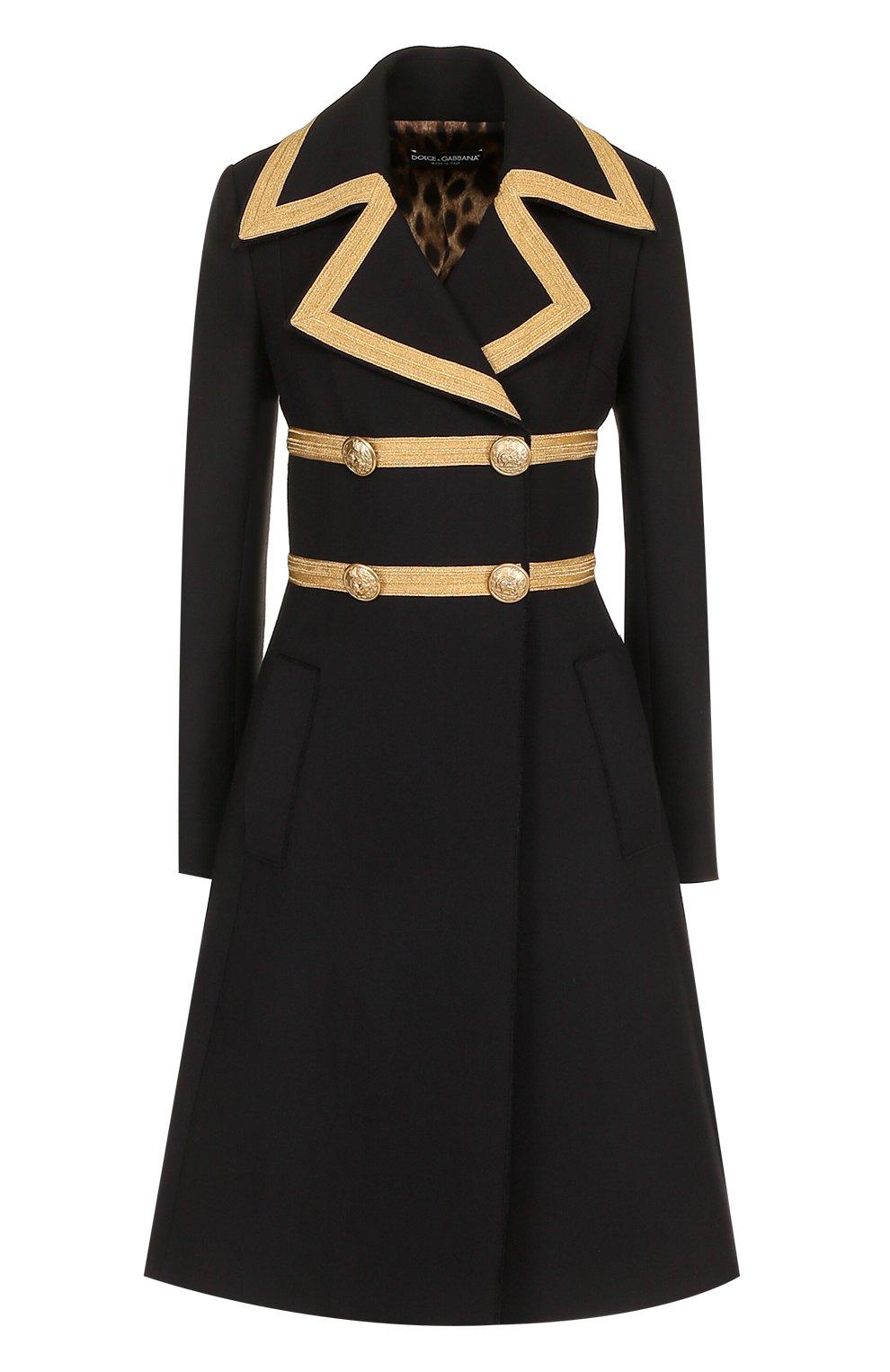 Двубортное шерстяное пальто с декоративной отделкой   Фото №1