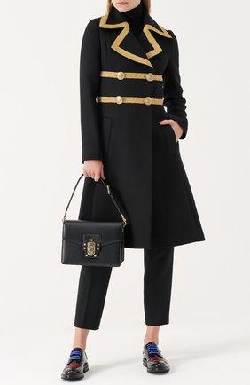 Двубортное шерстяное пальто с декоративной отделкой Dolce & Gabbana черного цвета   Фото №2