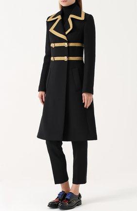 Двубортное шерстяное пальто с декоративной отделкой Dolce & Gabbana черного цвета   Фото №3