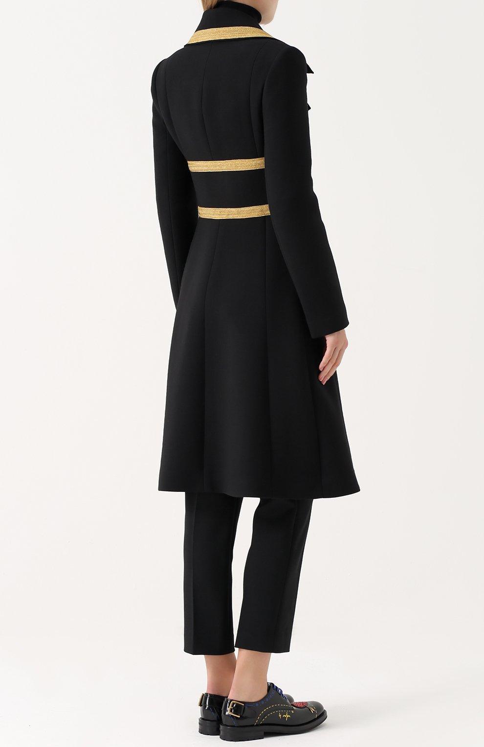 Двубортное шерстяное пальто с декоративной отделкой Dolce & Gabbana черного цвета   Фото №4