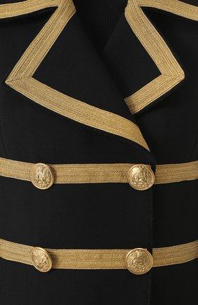 Двубортное шерстяное пальто с декоративной отделкой Dolce & Gabbana черного цвета   Фото №5
