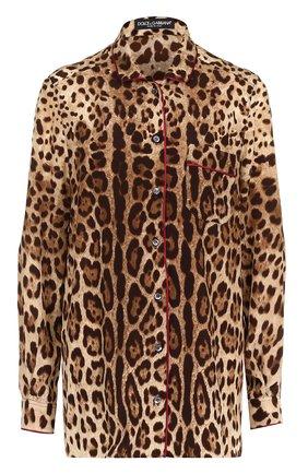 Шелковая блуза в пижамном стиле | Фото №1