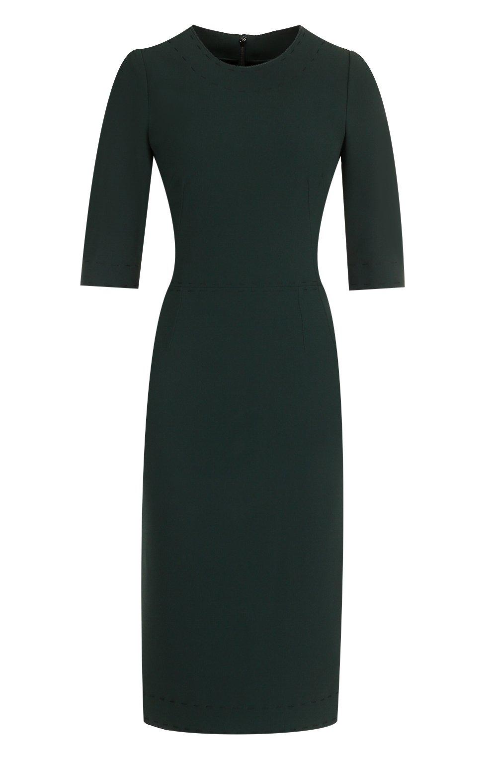 Приталенное платье-миди с контрастной прострочкой | Фото №1