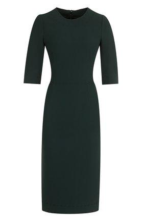 Приталенное платье-миди с контрастной прострочкой Dolce & Gabbana зеленое | Фото №1