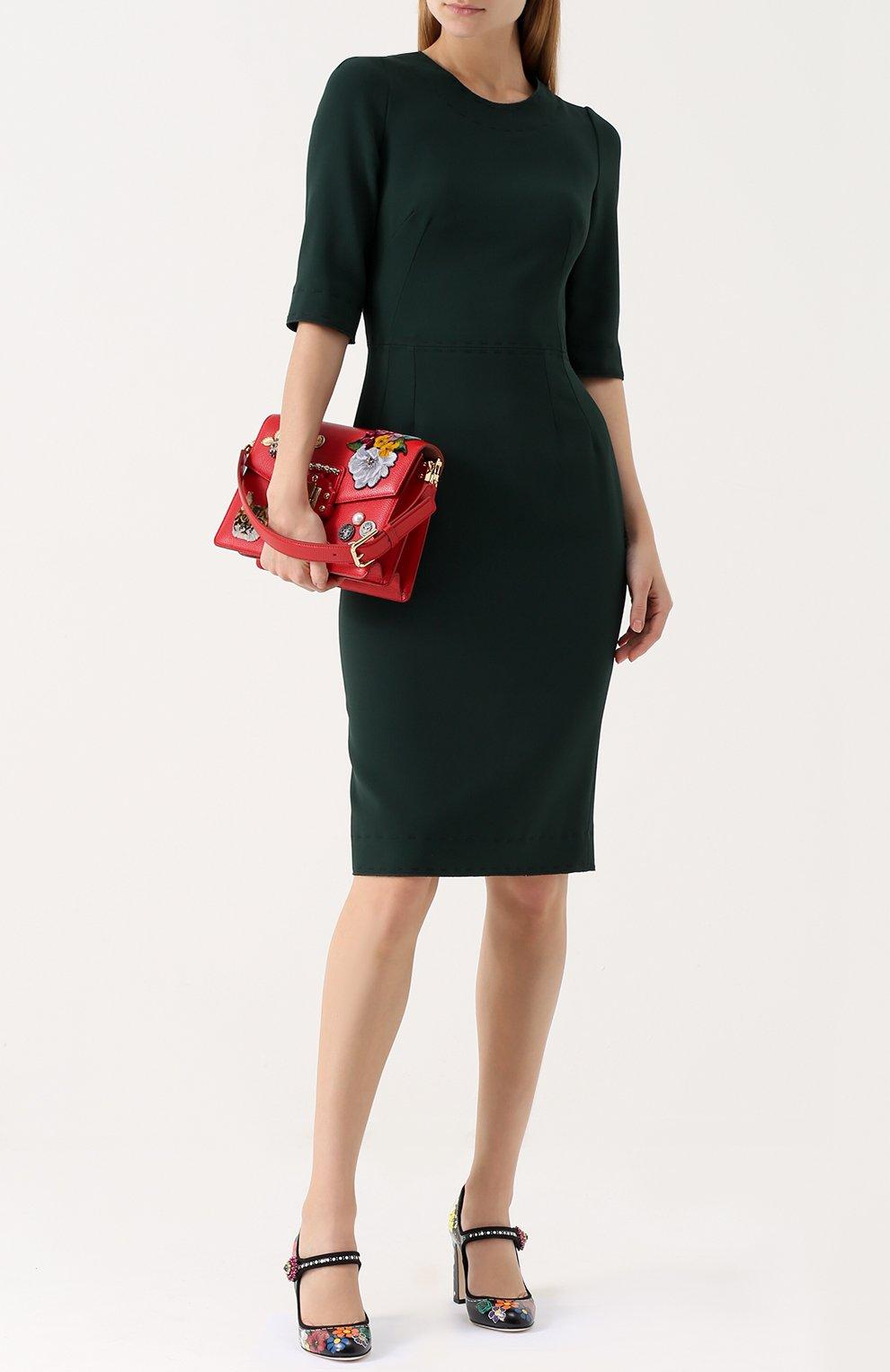 Приталенное платье-миди с контрастной прострочкой Dolce & Gabbana зеленое | Фото №2
