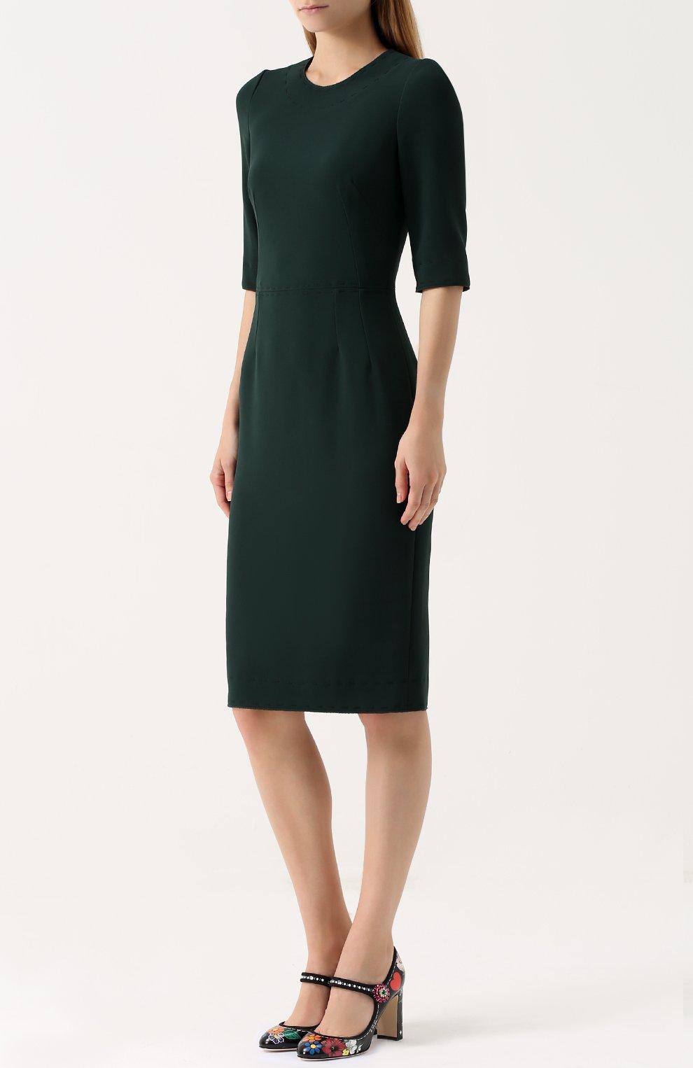 Приталенное платье-миди с контрастной прострочкой Dolce & Gabbana зеленое | Фото №3