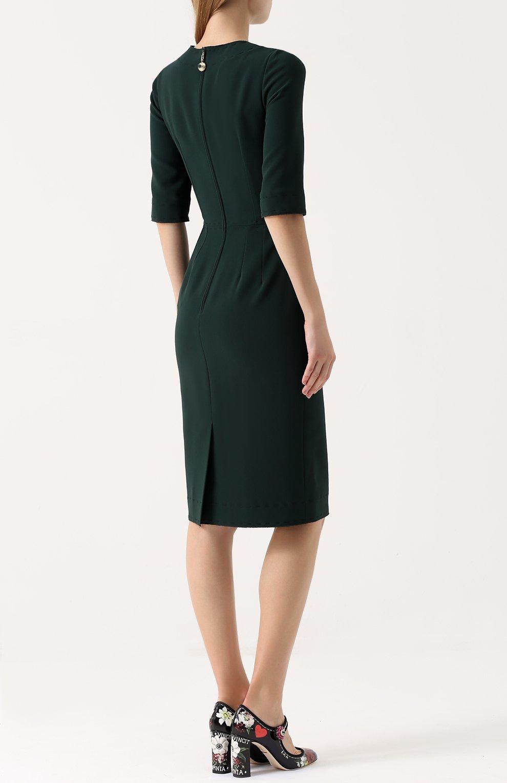 Приталенное платье-миди с контрастной прострочкой Dolce & Gabbana зеленое | Фото №4
